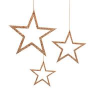 3 Holz Sterne mit Glitzereffekt Schnur Weihnachtsdeko Weihnachtsbaum Anhänger Weihnachten rosé gold