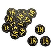 Konfetti Zahl 18 Geburtstag Jubiläum Hochzeitstag Tisch Deko Streudeko - schwarz gold