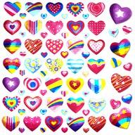 630 Herz Sticker Herzen Aufkleber Glänzend Scrapbooking - bunt
