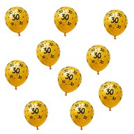 10x Luftballons Zahl 30 Geburtstag Jubiläum Ballons - gelb schwarz