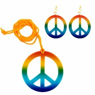 Hippie Peace Kette + Ohrringe 70er Jahre Flower Power Accessoire Set Fasching Karneval Motto Party