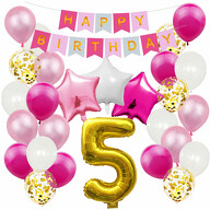 5. Geburtstag Party Deko Set - Happy Birthday Girlande + Zahl 5 Ballon + Konfetti Luftballons + Sterne