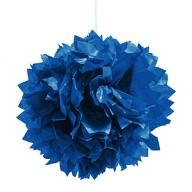 3 PomPoms Pompons Seidenpapier Hochzeit Geburtstag Party Deko - dunkelblau
