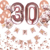 30. Geburtstag Party Deko Set - Girlande + Zahl 30 Ballons + Konfetti Luftballon Set + Konfetti