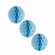 3 Wabenbälle Honeycomb Balls Papier Hochzeit Geburtstag Baby Shower Party Papier Deko - hellblau