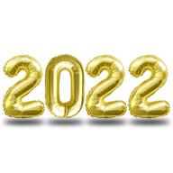 Folien Luftballon Zahl 2022 Silvester Neujahr Party Deko Ballons Zahlenballons - gold