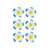 6 Blumen Haarspangen Haarclips Haarschmuck Hawaii Party Karneval Fasching - blau