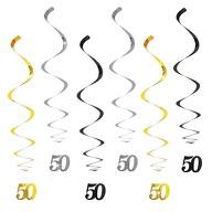 6 Spiral Wirbel Deckenhänger Girlanden 50. Geburtstag Goldene Hochzeit mit Bändern und Ösen - Farbmix