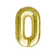 1x Folien Luftballon mit Zahl 0 Geburtstag Jubiläum Party Deko Ballon - gold