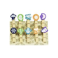 10 Mini Wäscheklammern Holz Miniklammern Deko Klammern - Wetter
