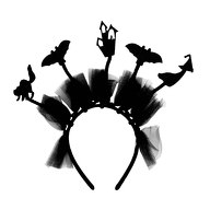 Haarreifen mit Fledermaus Hexe Katze Gespenster Haus Haarreif für Halloween Fasching Karneval -  schwarz