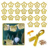 24 Zahlen Anhänger 1-24 mit Schnur und Glitzereffekt für DIY Adventskalender Weihnachten Deko gold