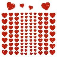 106 Herz Sticker Aufkleber Set mit Glitzer Scrapbooking - rot