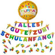 Schuleinführung Schulanfang Einschulung Deko Set - Alles Gute zum Schulanfang Girlande + Luftballon + Konfetti