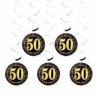 5 Deckenhänger Wirbel Spiral Girlanden mit Zahl 50 Geburtstag Jubiläum Party Feier Deko