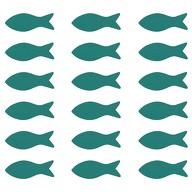18 Holz Fische Streudeko Taufe Kommunion Konfirmation Firmung - Echtholz türkis