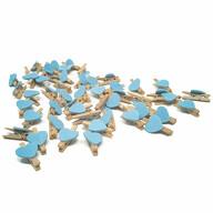 50 Mini Herz Holz Wäscheklammern Holz Miniklammern mit Herzen kleine Deko Klammern Hochzeit - blau