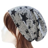 Long Beanie Jersey Mütze Slouch XXL Mützen - Sterne schwarz-grau