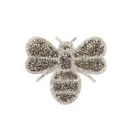 Strasssteine Bügelbild Biene für Mädchen Damen Frauen Strass zum Aufbügeln - grau