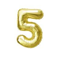 1x Folien Luftballon mit Zahl 5 Geburtstag Jubiläum Party Deko Ballon - gold