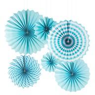6 Papier Fächer Deko Rosetten Hochzeit Jubiläum Geburtstag Party Baby Shower Junge hellblau weiß