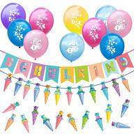 Schuleinführung Schulanfang Einschulung Deko Set - Schulkind Zuckertüten Girlande Luftballons Konfetti