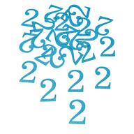 Konfetti Zahl 2 Tisch Deko für Kinder Geburtstag Junge Jubiläum 24 Stk. blau mit Glitzereffekt
