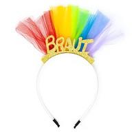 Haarreif Haarreifen Braut JGA Junggesellinnenabschied mit Glitzereffekt und Tüll bunt Hen Party