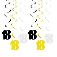 6 Spiral Wirbel Deckenhänger Girlanden 18. Geburtstag Jubiläum mit Bändern und Ösen - Farbmix