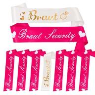 Schärpe Braut + Braut Security Set JGA Hen Party Hochzeit Herz Ring pink weiß