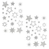 44 Glitzernde Funkelnde Sterne Sticker Aufkleber - silber