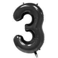 1x Folien Luftballon mit Zahl 3 Kinder Geburtstag Jubiläum Party Deko Ballon schwarz