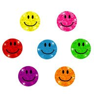 112 Smiley Sticker Smile Aufkleber Glitzer Emoji Set - bunt