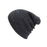 Long Beanie Mütze XXL Damen Herren Kinder Winter Mütze - schwarz-grau