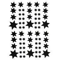68 Sterne Sticker Aufkleber Glitzernd Funkelnd Weihnachtsdeko Weihnachtssterne - schwarz