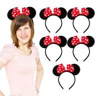 6x Haarreif Haarreifen Maus Mouse Ohren mit Schleife Fasching Karneval - rot