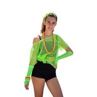 Netzshirt Netztop Damen Netz Hemd Oberteil 80s 80er Jahre Kostüm Motto Party Größe 38 - 42 - neon grün