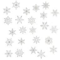 24 Schneeflocken Schnee Sticker Aufkleber Winter Deko Weihnachtsdeko selbstklebend - silber
