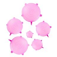 6er Set Silikon Deckel Frischhaltedeckel Dehnbar Wiederverwendbar verschiedene Größen - rosa