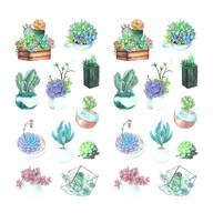 22 Kakteen Sticker Blumen Kaktus Aufkleber Vintage Küche Dekoration Scrapbooking Kinder Basteln