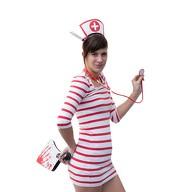 Sexy Krankenschwester Kostüm Accessoires - Haarreifen + Strumpfhose + Stethoskop