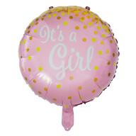 Folien Luftballon It's a Girl! Folienballon für Baby Shower Party Deko Geburt Mädchen rund - rosa