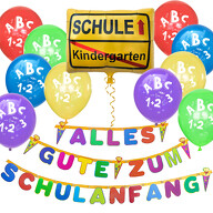 Schuleinführung Schulanfang Einschulung Deko Set - Alles Gute zum Schulanfang Girlande + Luftballons