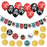 Piraten Party Kindergeburtstag Deko Set - Girlande + Luftballons + Konfetti
