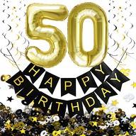 50. Geburtstag Party Deko Set - Girlande + Zahl 50 Ballons + Spiral Deckenhänger + Konfetti