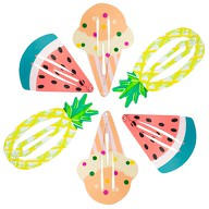 6 Haarspangen Haarclips Ananas Melone Eis Sommer Strand Hawaii Party Karneval Fasching
