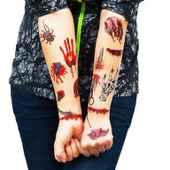 Temporäre Tattoos Horror Halloween Klebetattoos Wunden - 26 Motive