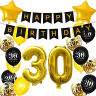 30. Geburtstag Party Deko Set - Happy Birthday Girlande + Zahl 30 Ballons + Konfetti Luftballons