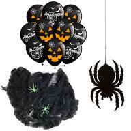 Halloween Deko Set - Spinnennetz mit Spinnen + 10 Luftballons + 1 Spinne Filz Untersetzer