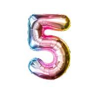 1x Folien Luftballon mit Zahl 5 Kinder Geburtstag Jubiläum Party Deko Ballon bunt